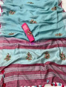 Pastel blue and pink linen frenchknot embroidered sarees