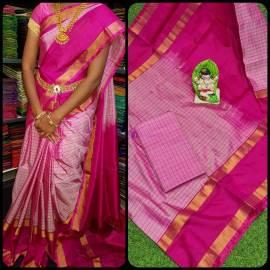 Pink uppada mahanati checks sarees