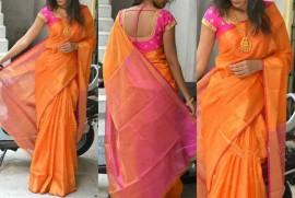 Orange uppada tissue sarees