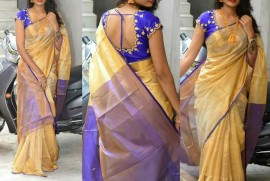 Cream with blue uppada tissue sarees