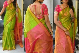 Green with pink uppada tissue sarees