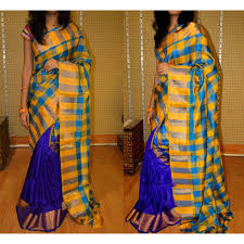 Dark blue and yellow Uppada half and half checks sarees
