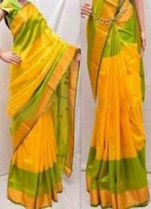 Yellow and light green uppada special border sarees