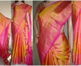 Golden pink colour plain uppada tissue silk sarees