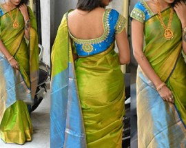 Green and blue uppada tissue sarees