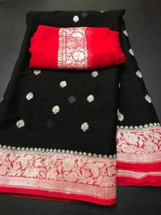 Black and orange pure chiffon banarasi sarees