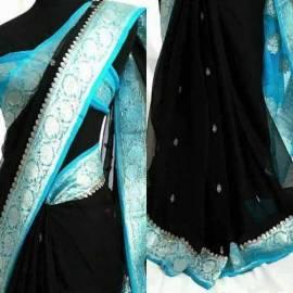 Black and light blue pure chiffon banarasi sarees