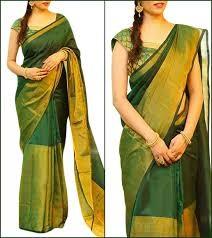 Dark green uppada half tissue sarees