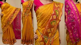 Yellow with pink uppada sarees with pochampally border