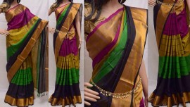 Multi-colour with stripes uppada sarees