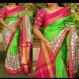 Plain Green with big white pochampalli ikkat border saree