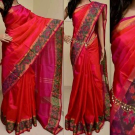 Red with pink uppada sarees with pochampally border