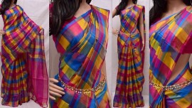 Dark pink and sky blue uppada full checks sarees