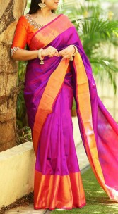 Dark magenta with pink Uppada big border sarees