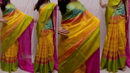 Yellow with light green Uppada checks silks sarees