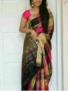 Black with multicolor checks kuppadam sarees