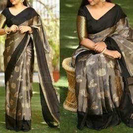 Black Uppada Tissue print sarees