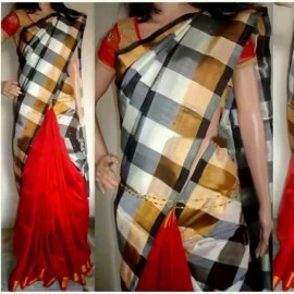 Dark red with Black and white Uppada half and half checks sarees