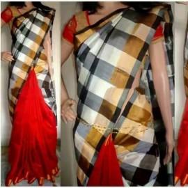 Dark red with Black and white Uppada half and half checks sarees