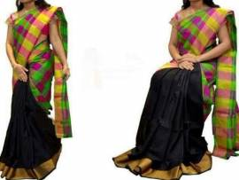 Black with green and magenta Uppada half and half checks sarees