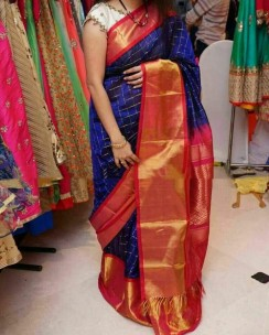 Violet blue with dark red kuppadam checks sarees