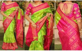 Green with pink pochampally Ikkat Sarees