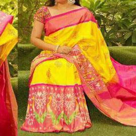 Yellow with pink pochampally Ikkat Sarees