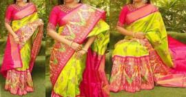 Light green with pink pochampally Ikkat Sarees