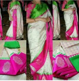 Cream with dark pink and green kuppadam tissue sarees
