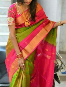 Green and pink Uppada sarees with butti
