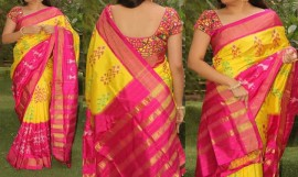 Dark yellow and pink ikkat silk sarees