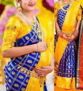 Dark blue and yellow kuppadam sarees