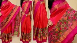 Pink uppada sarees with big pochampally border