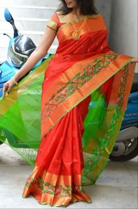 Red and green uppada sarees with pochampally border