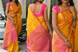 Orange and pink uppada tissue sarees