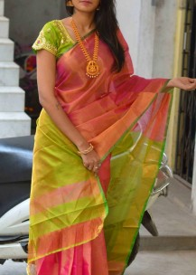 Golden pink with green uppada plain tissue sarees