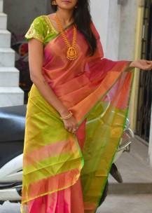 Golden pink with green uppada plain tissue sarees