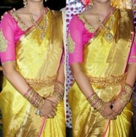 golden yellow with pink uppada tissue sarees