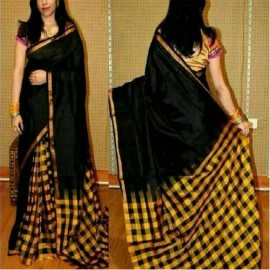 Black with yellow uppada checks sarees