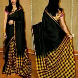 Black with yellow uppada checks sarees