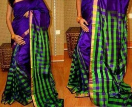 Royal blue and green uppada checks sarees