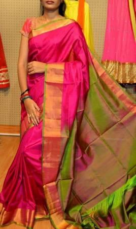 2b91d53014 Pink with green Uppada plain silk sarees| uppada sarees online