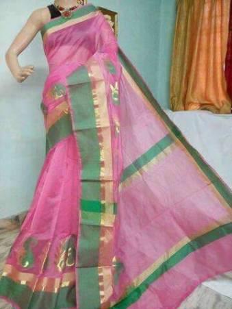 34cb44cfef29b Pink and green kora Cotton Sarees
